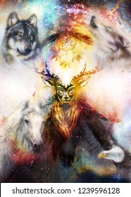 sacred ornamental deer spirit with dream catcher symbol and feathers and wolf, horse, eagle in cosmic space.