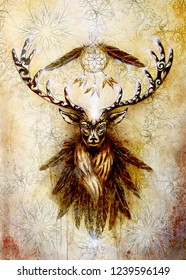 sacred ornamental deer spirit with dream catcher symbol and feathers.