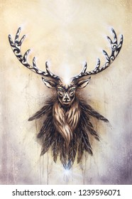sacred ornamental deer spirit and feathers on paper.