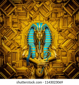 The Sacred Queen / 3D illustration of golden futuristic female Egyptian pharaoh covered in hieroglyphic symbols inside gold temple