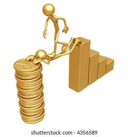 Sacrifice Bridge Between A Bar Graph And A Gold Yen Coin Stack