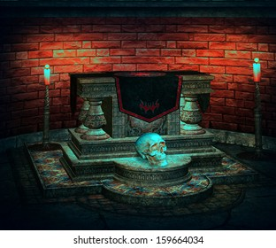 Sacrificial Altar Spooky Background