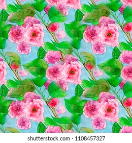 Sacura blossom branch watercolor floral bouquet pattern