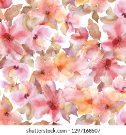 Sacura flowers.  Floral pattern. Watercolor flowers background. Floral fabric design. Sacura flowers.