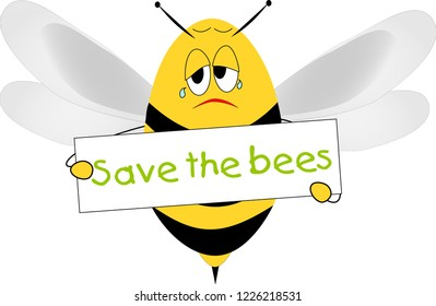 Sad bee with banner Save the bees