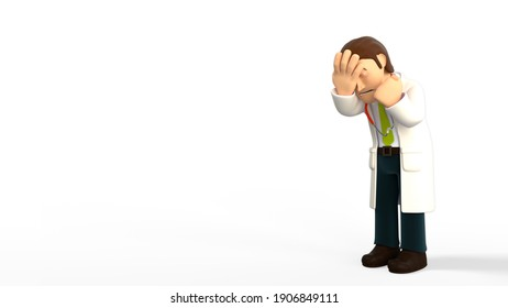 Sad cartoon doctor with a lab coat and a stethoscope doing a facepalm, isolated on a white background 3d rendering