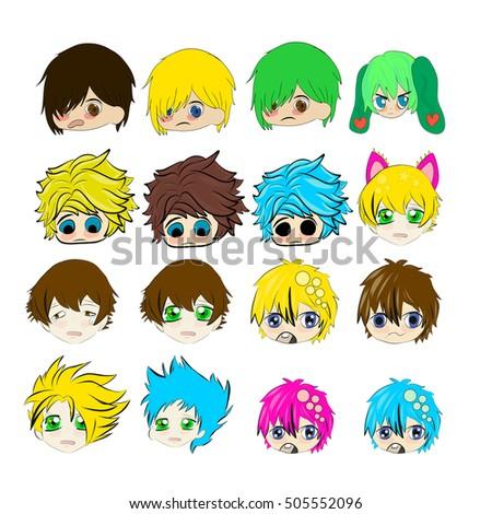 sad crying cute anime boys faces stock illustration 505552096