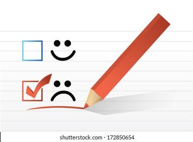 sad face check mark illustration design over a white background