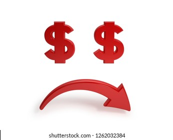 Sad face with dollar signs instead of eyes and down arrow instead of mouth on white background - 3D rendering illustration of unsuccess and dollar drop