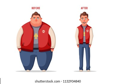 81734c5c79333 Sad fat man. Obese character. Fatboy. Cartoon illustration. Concept of  weight.