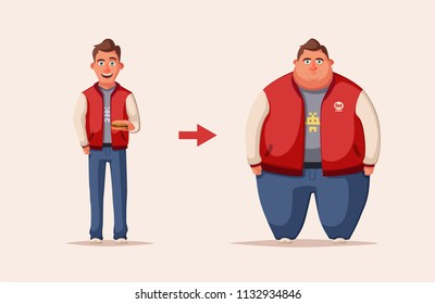 Sad fat man. Obese character. Fatboy. Cartoon illustration. Concept of weight. Funny cartoon character. Before and after