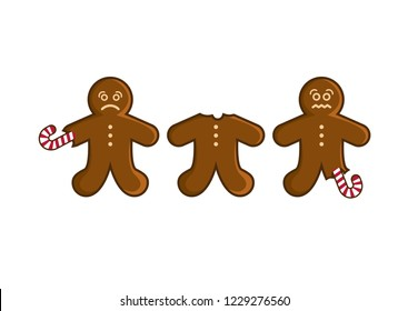 Sad gingerbread man illustration. Gingerbread isolated on a white background. I hate Christmas picture. Christmas gingerbread man cartoon. Eaten gingerbread man. Funny Christmas Card