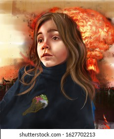 Sad girl watching the End of the world. Digital illustration of a young girl and explosion in the background. Act Now concept.