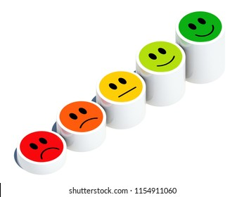 From sad to happy face expresions and satisfaction chart 3D render