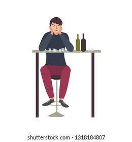 Sad man with closed eyes sitting at bar and drinking shots. Male cartoon character with alcohol addiction isolated on white background. Alcoholic or dipsomaniac. Flat colorful illustration.