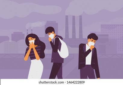 Sad people wearing protective face masks walking on street against factory pipes emitting smoke on background. Fine dust, air pollution, industrial smog, pollutant gas emission. illustration.