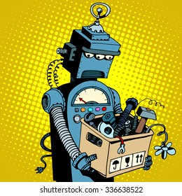 Sad retro robot leaves work pop art retro style. New technology outdated technology