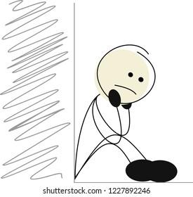 Sad stick figure is sitting on the edge