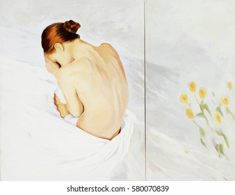 sad woman crying in bed, painting, illustration