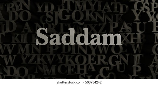 Saddam - Stock image of 3D rendered metallic typeset headline illustration.  Can be used for an online banner ad or a print postcard.