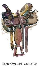 Saddle for a horse watercolor illustration