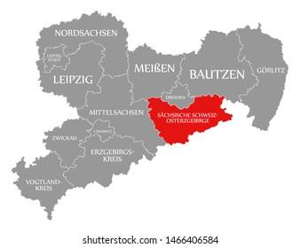 Saechsische Schweiz - Osterzgebirge red highlighted in map of Saxony Germany DE