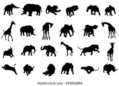 A safari African animal silhouette set including elephants, giraffes, rhinos and lions