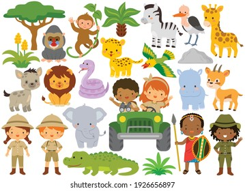 Safari animals and kids. Clipart set with wild animals and people in the African savanna.