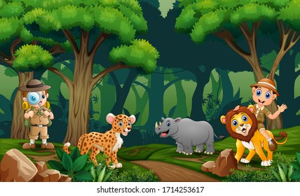 Safari boys with animals in the forest