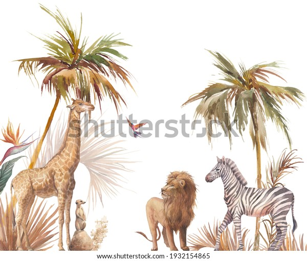 East Africa Safari wildlife wallpaper with zebra, lion and giraffe. Watercolor animal and jungle flora on white background.