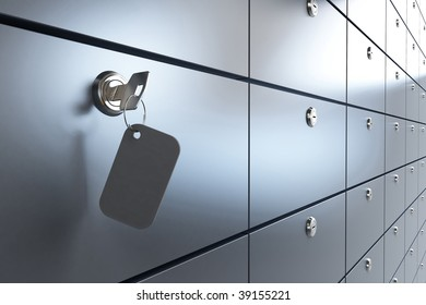 Safe bank and key to the safe
