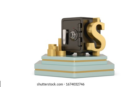Safe box and gold coin stacks on stand. Safe Security Concept. 3D illustration.