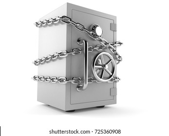 Safe with chain isolated on white background. 3d illustration