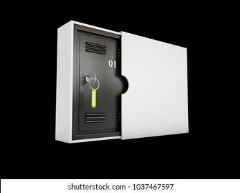 Safe deposit lockboxes isolated black, 3d Illustration