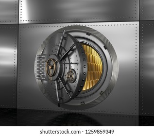 Safe with the door open. Gold in the vault. 3D illustration.
