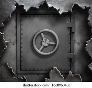 Safe door in torn metal 3d illustration