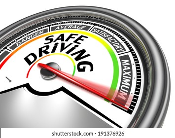 safe driving conceptual meter indicate maximum, isolated on white background