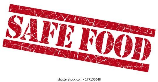 Safe food red grunge stamp