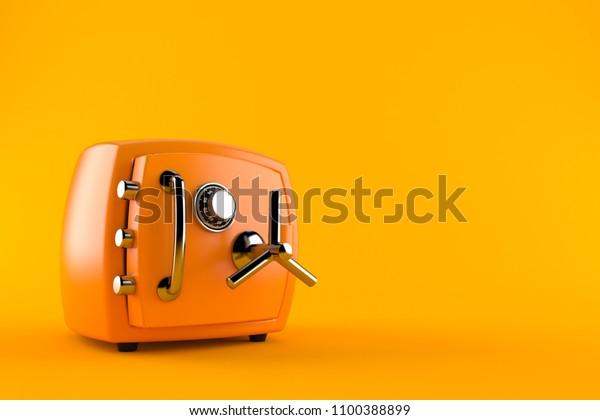 Safe einzeln auf orangefarbenem Hintergrund. 3D-Abbildung