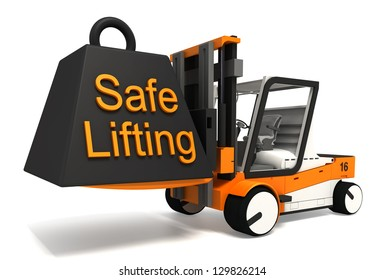 safe lifting sign weight on fork lifter on white background