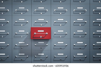 Safe lockers and one of which open and red. 3d illustration