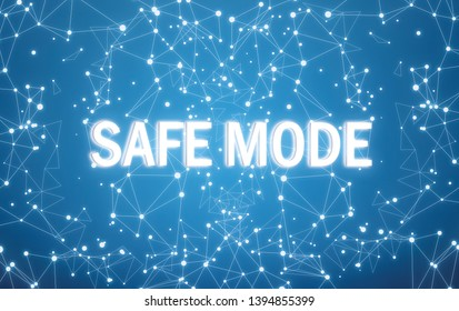 Safe mode on digital interface and blue network background