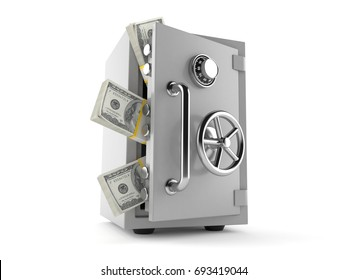 Safe with money isolated on white background. 3d illustration