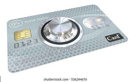 Safe Payments. 3D render of Blue Credit Card with a Safe Dial Lock. Generic names and numbers, non branded.