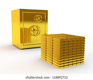 safe and pile of gold ingots
