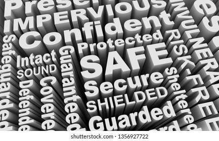 Safe Sound Secured Protected Word Collage 3d Illustration
