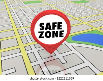 Safe Zone Danger Free Safety Location Map Pin 3d Illustration