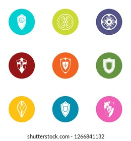 Safeguard icons set. Flat set of 9 safeguard icons for web isolated on white background