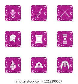 Safeguard icons set. Grunge set of 9 safeguard icons for web isolated on white background