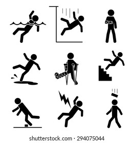 Safety and accident icons set. Trauma and brick on head, crutch and cling, slip and puddle, gypsum and fracture